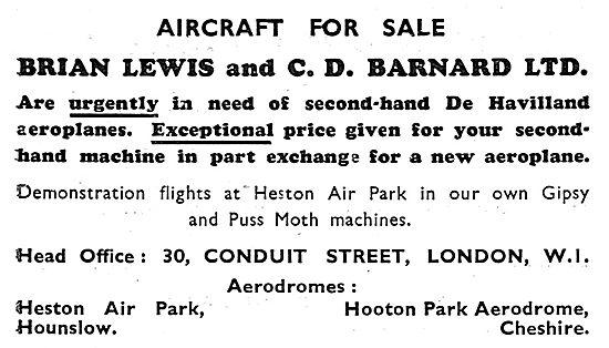 Brian Lewis Aircraft Sales 1931