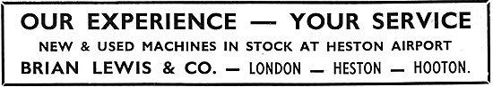 Brian Lewis & Co  - London, Heston & Hooton. Aircraft Sales