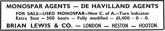Brian Lewis & Co: Monospar & De Havilland Agents