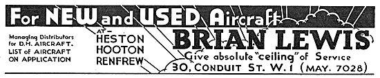 Brian Lewis & Co: Managing Distributors For De Havilland Aircraft