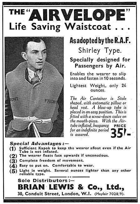 Brian Lewis & Co: Airvelope Kapok Life Saving Waistcoat