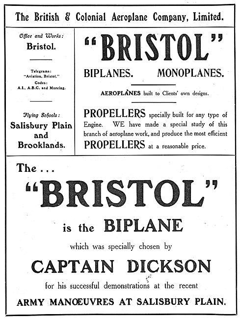 British & Colonial - Bristol : Aircraft, Propellers & Training