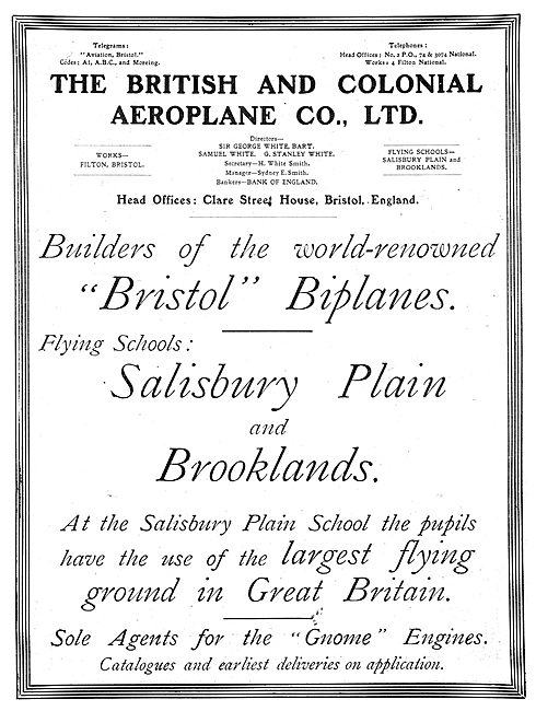 British & Colonial - Bristol Biplanes At Salisbury Plain