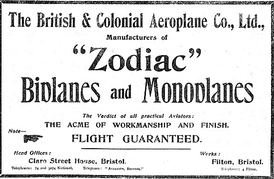 The British & Colonial  Aeroplane Company Ltd - Zodiac Aeroplanes