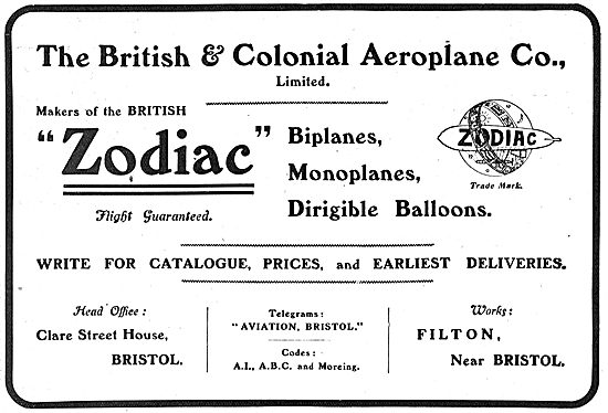 The British & Colonial  Aeroplane Co Zodiac Biplanes & Monoplanes