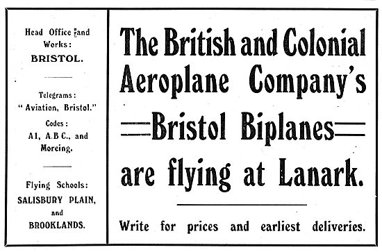British & Colonials Bristol Biplanes Are Flying At Lanark.