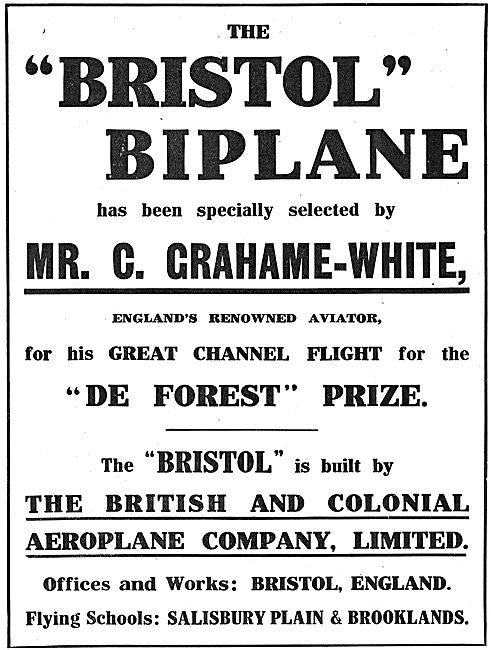 The Bristol Biplane Has Been Specially Selected By Grahame-White