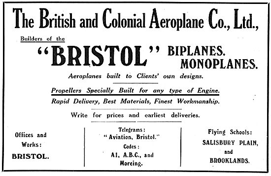 Bristol Biplanes & Monoplanes. Aeroplanes Built To Your Own Spec