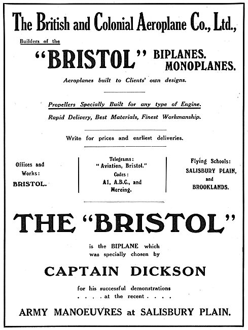 Rapid Delivery Of Bristol Aeroplanes & Propellers
