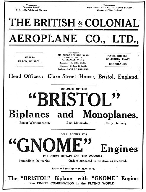 British & Colonial  - Sole Agents For Gnome Aero Engines