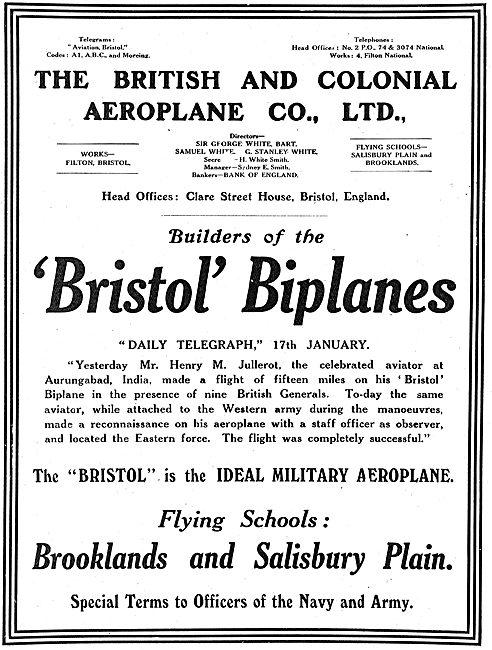 The Bristol Aeroplane Company. Builders Of The Bristol Biplanes