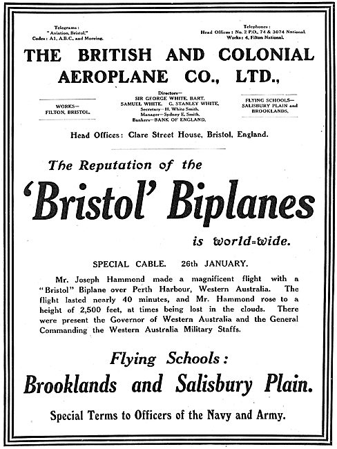 The Reputation Of Bristol Biplanes Is World-Wide.
