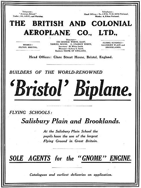 The Bristol Aeroplane Co Builders Of The Renowned Bristol Biplane