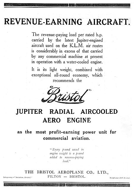 Bristol Jupiter Aero Engines For KLM Revenue-Earning Aircraft