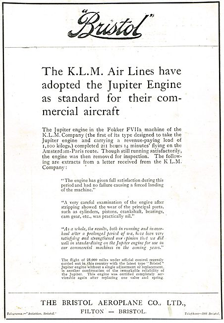 KLM Adopts Bristol Jupiter Engines For Their Fokker Aircraft