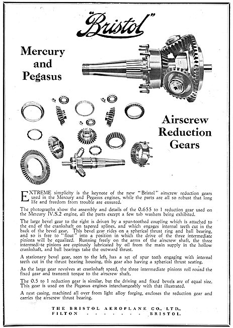 Bristol Mercury & Pegasus Aero Engine Reduction Gears