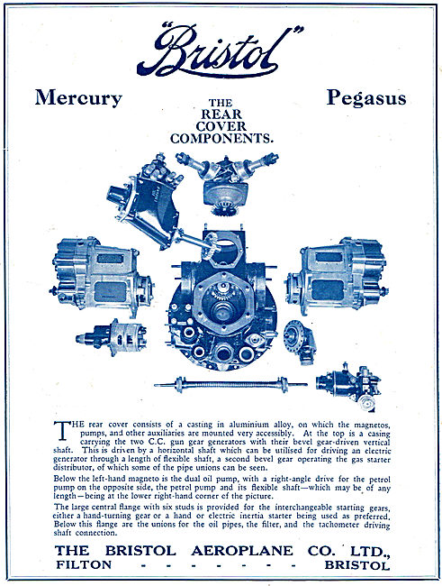 Bristol Mercury Aero Engine Rear Cover Components
