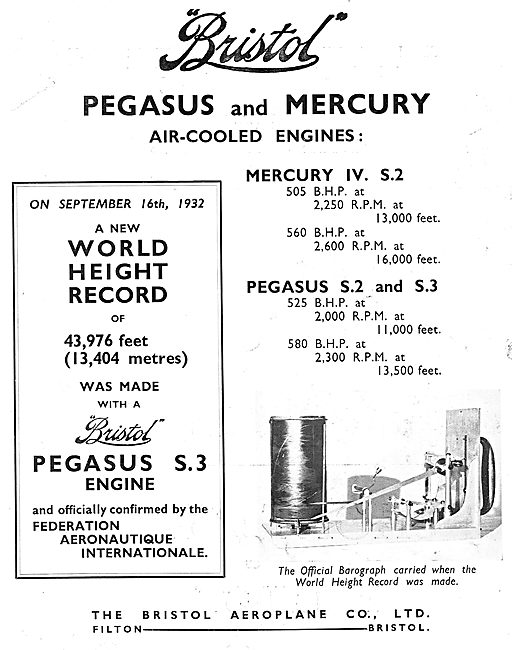 Bristol Mercury & Pegasus Aero Engine World Height Records