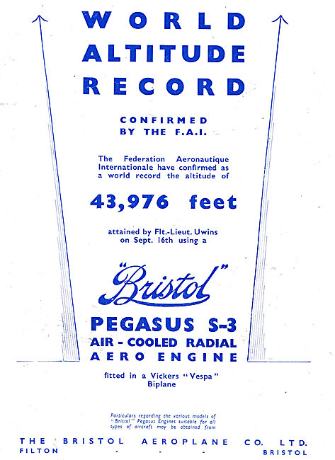 Bristol Pegasus S3 Aero Engine World Height Record Vespa