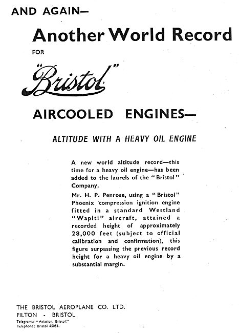 Bristol Phoenix Heavy Oil  Aero Engines