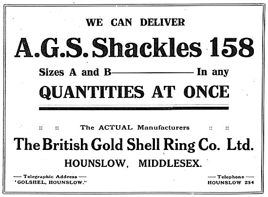The British Gold Shell Ring Co, Hounslow. AGS Shackles A & B