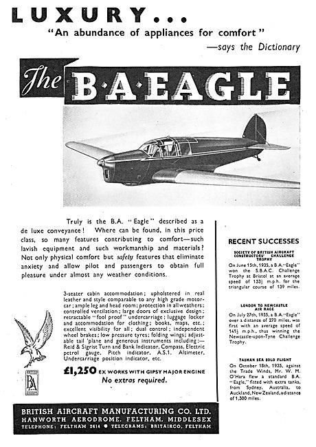 British Aircraft  BA Eagle : Hanworth Aerodrome