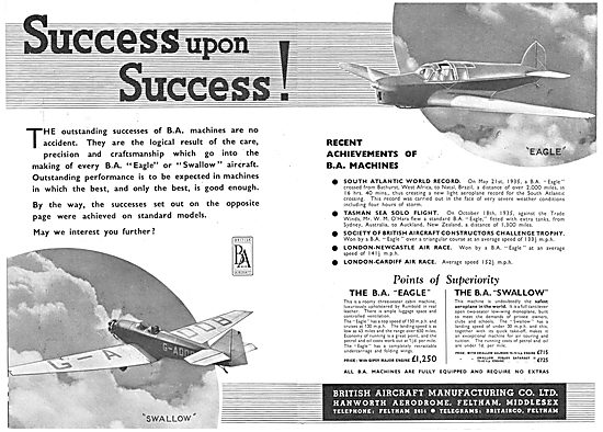 British Aircraft  B.A.Eagle : British Aircraft  B.A.Swallow
