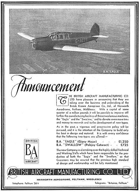 British Aircraft  B.A.Eagle G-ACZT: British Klemm