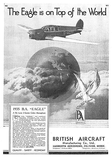 British Aircraft  B.A.Eagle 3 Seater Cabin Monoplane