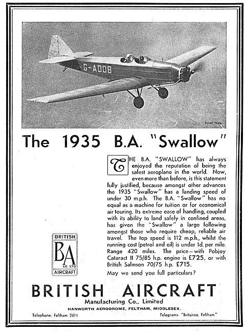 British Aircraft  B.A.Swallow: Pobjoy Cataract II: Salmson 70/75