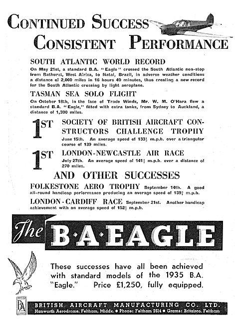 British Aircraft  B.A.Eagle World Records W.M.O'Hara
