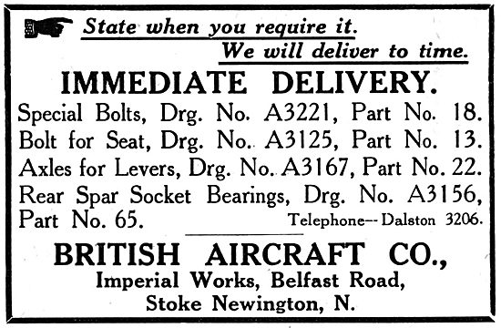 The British Aircraft Manufacturing Co - AGS Parts & Fittings