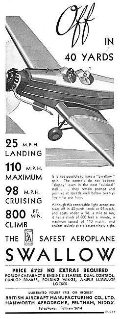 The British Aircraft Manufacturing Co. British Aircraft Swallow