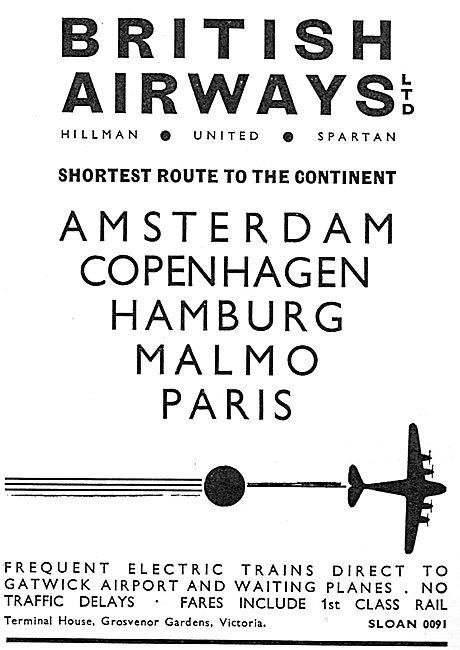 British Airways. Hillmans - United - Spartan. Scandanavian Routes