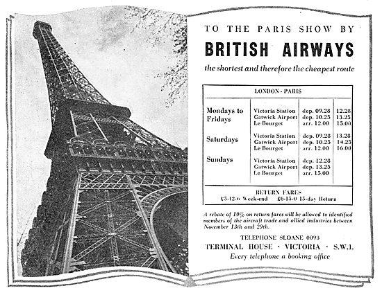 British Airways. Hillmans - United - Spartan. Fastest To Paris