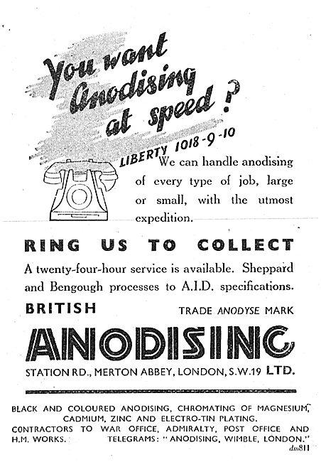 British Anodising Ltd. Merton Abbey. 1942 Advert