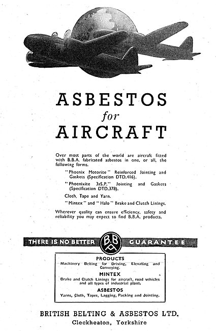 British Belting & Asbestos. Asbestos Products. Mintex. 1942