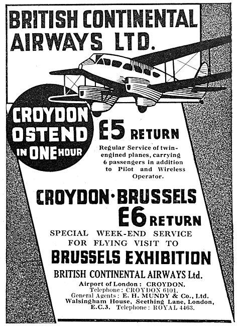 British Continental Airways Croydon - Ostend