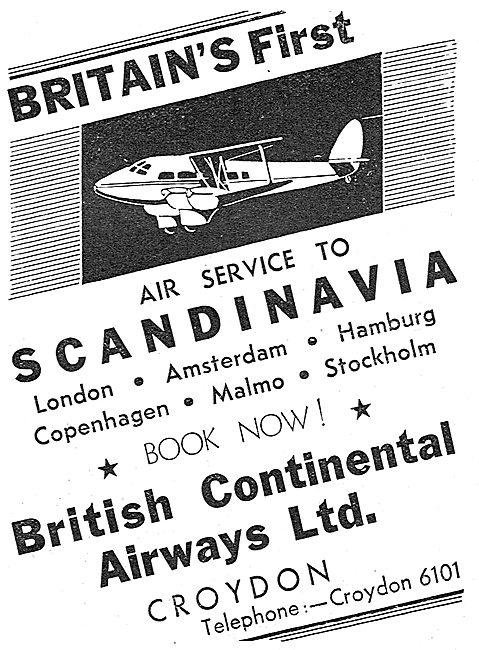 British Continental Airways Croydon - Europe & Scandinavia Routes