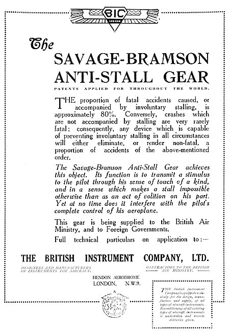 Savage-Bramson Anti Stall Gear For Aircraft