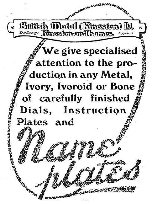 British Metal (Kingston) - Aircraft Metal Name Plates & Dials