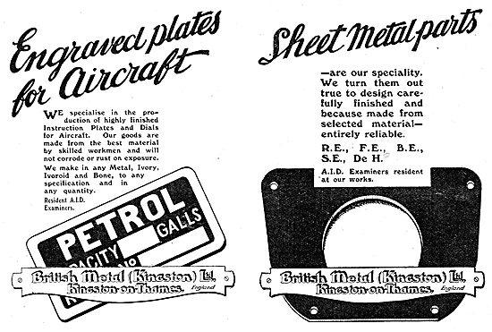 British Metal (Kingston) - Aircraft Dials & Sheet Metal Parts