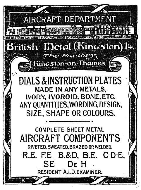 British Metal (Kingston) - Aircraft Dials & Instruction Plates