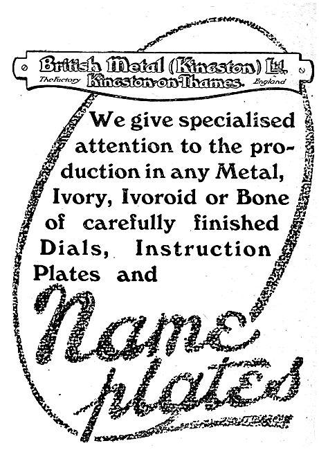 British Metal (Kingston) - Aircraft Name Plates