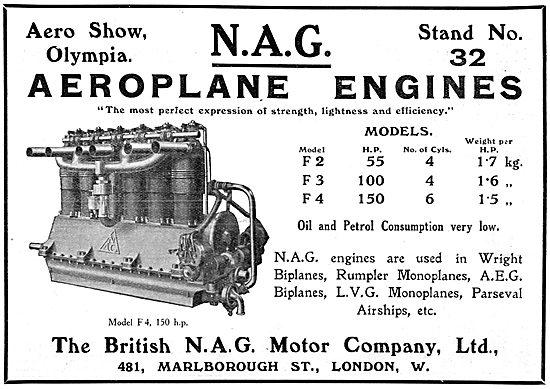 British N.A.G. Aero Engines - 1913