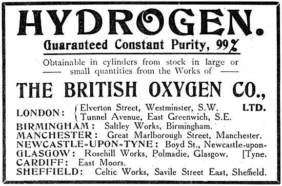 British Oxygen Company 1914 - Hydrogen