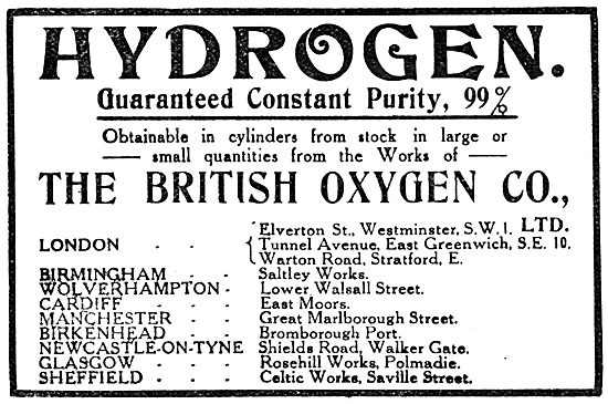 British Oxygen Company - Hydrogen. 1918 Advert