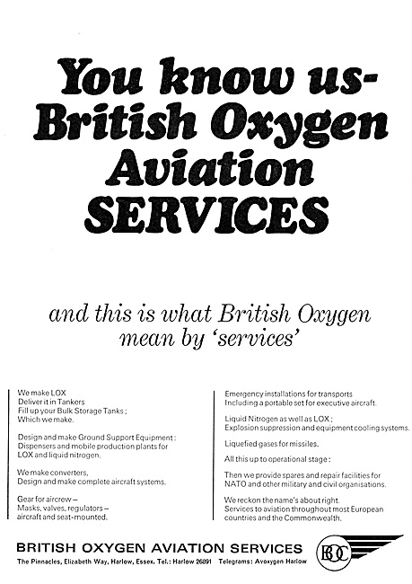 British Oxygen Aviation Services. BOC B.O.C.