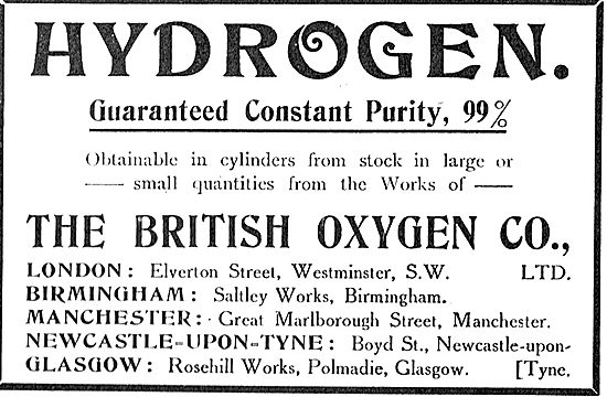 Guaranteed 99% Pure Hydrogen From The British Oxygen Co