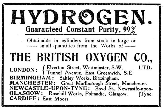 British Oxygen Co Hydrogen Of Guaranteed 99% Constant Purity